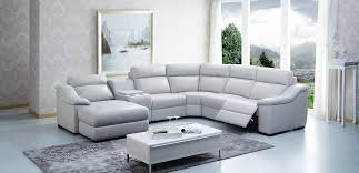 Reclining Sofa With Console by Modern Leather Sectional Sofa W Beverage Console And Recliners