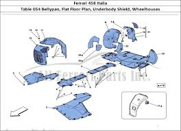Ferrari 458 Underbody - ferrari 458 italia bodywork table 054 bellypan flat floor plan
