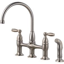 Kitchen Sink Faucets Lowes Shop Delta Dennison Stainless 2 Handle High Arc Deck Mount Kitchen