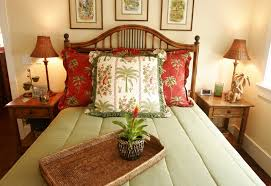tropical bedding sets bedroom with decorative table lamps