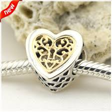 sterling silver beads pandora bracelet images Fits for pandora bracelets locked hearts charms with 14k real gold jpg
