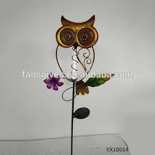 outdoor metal ornament wrought iron garden owl ornaments solar