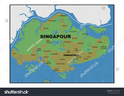 Map Of Singapore Physical Map Singapore Stock Illustration 149293604 Shutterstock