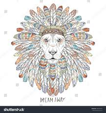 lion print ornate aztec lion portrait native american stock vector 480626338