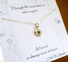 wedding message for a friend compass necklace friendship necklace with message card best