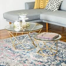 walker edison coffee table caroline geometric nesting table set glass gold walker edison