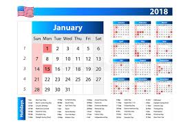 usa calendar 2018 official holidays and non working days week