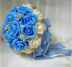 white and blue flowers delicate silk 2015 new holding flower wedding