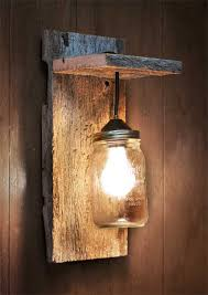 Barn Wood Wall Ideas by Mason Jar Light Wall Fixture Barnwood Wall By Grindstonedesign