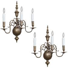 3 Light Sconce Lester Berry Queen Anne Style Three Light Brass Sconces Circa