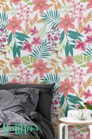 Pink Removable Wallpaper by Tropical Pattern Wallpaper Plumeria Removable Wallpaper Palm