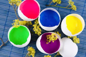 decorated egg shells easter decoration with five egg shells with paint and yellow
