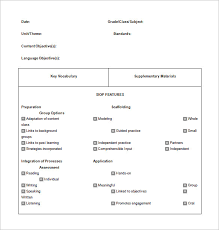 siop lesson plan template u2013 9 free sample example format