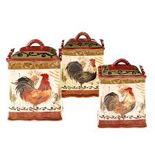 hand painted tuscan rooster 3 piece kitchen canister set ebay