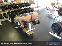 Dumbbell Exercises On Bench Incline Bench Two Arm Dumbbell Row Video Exercise Guide U0026 Tips