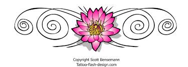 pink lotus flower tattoo design with spirals