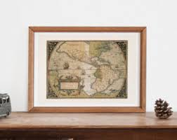 Map Home Decor Vintage World Map Poster Etsy