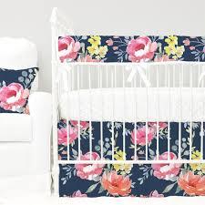 Navy Crib Bedding Navy Midnight Floral Bouquet Bumperless Crib Bedding Caden Lane