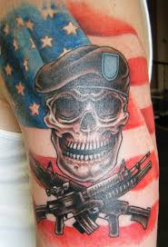 skull arm sleeve soldier skull with two crossing guns tattoo design for half sleeve