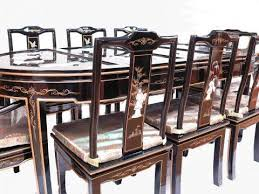 Oriental Chairs Black Lacquered Oriental Dining Table With 8 Chairs