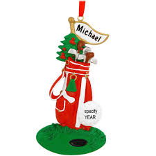 personalized golf bag on green ornament hobbies