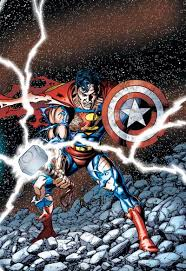 superman with thor s hammer and cap s shield the world s