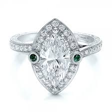 emerald engagement ring custom marquise with halo and emerald engagement ring