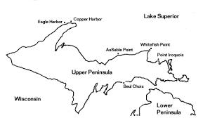 peninsula michigan map map showing peninsula lighthouses open to the