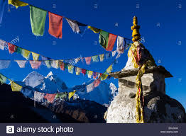 Flag Prayer Sherpa Prayer Flags Attached To A Buddhist Stupa Chorten Fly In