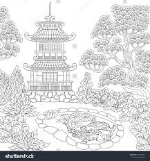 coloring page oriental temple japanese chinese stock vector