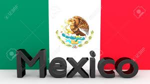 Mwxican Flag Writing Mexico Made Of Dark Metal In Front Of A Mexican Flag Stock