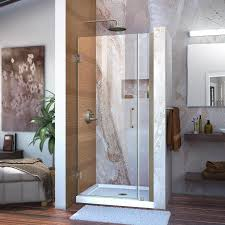 34 Shower Door Shop Dreamline Unidoor 34 In To 35 In W Frameless Brushed Nickel
