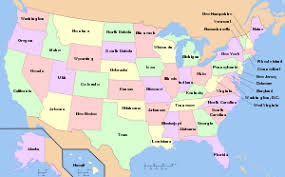 united states map with labels of states and capitals federalism