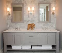 bathroom vanities with matching linen cabinets with beach style