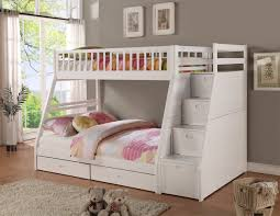 white bunk beds twin over full stair look spacious white bunk