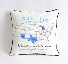 long distance family pillow case xmas gift for family us map