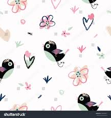 handdrawn doodle cute pattern background birds stock vector