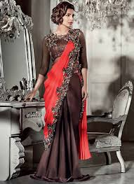 gown dress with price shrewd maroon satin georgette saree style gown suit best price