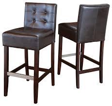 Bar Stool Sets Of 2 Gregory Brown Leather Back Stools Set Of 2 Transitional Bar