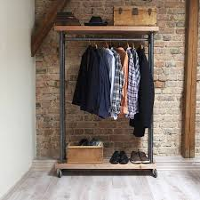 industrial style reclaimed wood clothes rail by cosywood