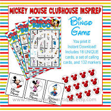 mickey mouse clubhouse inspired bingo game digital printable