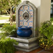outdoor garden decor tuscan mediterranean mosaic colorful spanish style water fountain