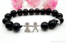 beaded bracelet girl images 2018 black natural stone agate beaded bracelet diy boy and girl jpg
