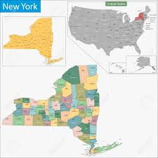 New York State Counties Map by Map Of New York State Designed In Illustration With The Counties