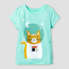 baby girls u0027 space cat short sleeve graphic t shirt green cat and