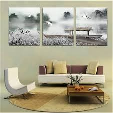 cranes boat lake chinese painting combination painting printed on