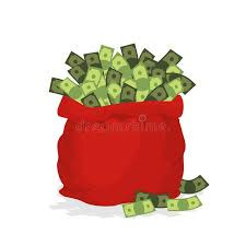 new year money bags money bag santa claus big festive bag filled with dollars