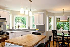 kitchen update with white refaced cabinets gray quartz