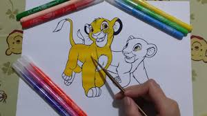 the lion king coloring page simba u0026 nala fun video to learn