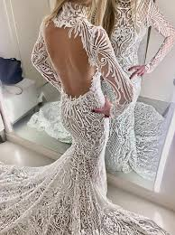 wedding dresses high buy mermaid high neck open back lace wedding dress with sleeves